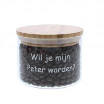 Bokaal Glas + Bamboe Wil Je Mijn Peter Worden