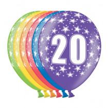 Ballon Metallic 30cm '20' 6 Stuks