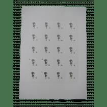Naamkaartje 4X4Cm Wit Silhouet Meisje In Zilverfolie 40 Stuks