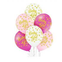 Ballon 30cm Roze Baby Girl 6 Stuks