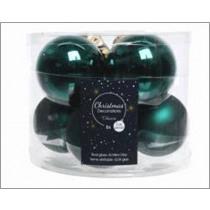 Kerstbal Glas Glans En Mat Emerald 7cm Diameter 8 Stuks