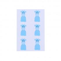 Naamkaartje 4x4cm Blauw Giraf 24 Stuks