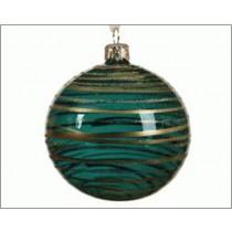 Kerstbal Glas Emerald 8cm Diameter Met Transparante Lijn