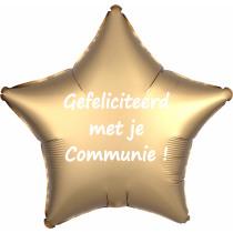 Ballon Satin Luxe Satin Ster 43x43cm Goud Gefeliciteerd Met Je Communie!