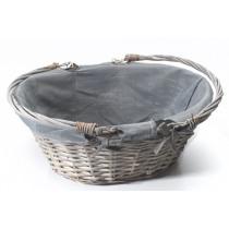 Mand Riet Met Stof 37x27x15cm Grijs Ovaal Grey Washed + Handvaten