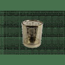 Theelichthouder Glas 10cm Goud 9cm Diameter Met Mandala