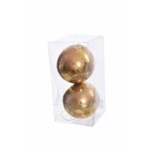 Kerstbal Plastiek Goud 10cm Diameter 2 Stuks