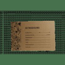 Uitnodiging Eco Met Zwarte Bol 15x10cm Bruin + 5 Enveloppen (91.054) 5 Stuks