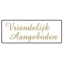 Wensetiket Vriendelijk Aangeboden 17x45mm NL Wit/Goud 500 Stuks