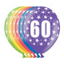 Ballon Metallic 30cm '60' 6 Stuks