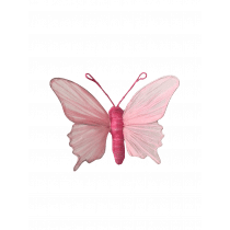 Clip 12x9x3,5cm Lichtroze Papier Vlinder