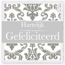 Wensetiket Gefeliciteerd Grijs NL 18 Stuks
