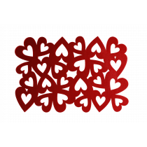 Placemat 45x30cm Rouge Coeurs Feutre
