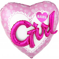 Folieballon 55x60cm Roze Hart Girl