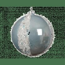 Kerstbal Plastiek 8cm Diameter Blauw Mist Sneeuw Glitter