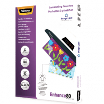 FELLOWES 80µ A4 BRILLANT 100PC