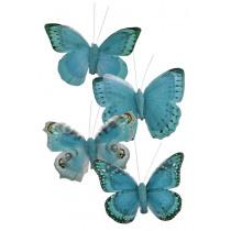 Vlinder Op Clip 9cm Blauw