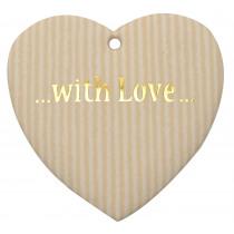 Label 'With Love' 55X55Mm Naturel 3Stuks