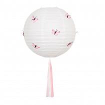 Lampion Deco Blanc 30cm Diamètre Avec 12 Papillons Rose & Tassel Multi