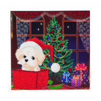 Crystal Card Kit Puppie Voor Kerstmis