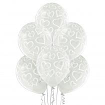 Ballon Met Witte Hartjes Transparant 30Cm Diam 6Stuks