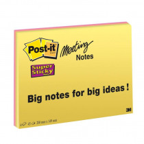 Post-It Notes 149x200mm Super Sticky 4 Pads Neon