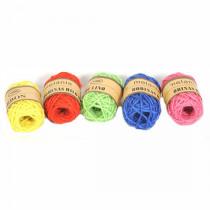 Jute Touw 10mx1,5mm Blauw/Geel/Roze/Groen/Rood 5Rollen