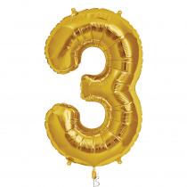 Folieballon 86cm Goud '3'
