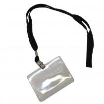 Badge Met Koord 70x95mm Zwart Met clip 10 Stuks