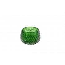 Theelichthouder Glas 6cm Groen 8,5cm Diameter Met Noppen