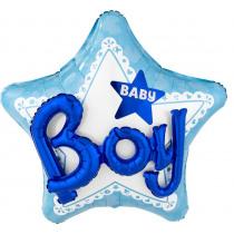 Folieballon 55x60cm Blauw Ster Boy