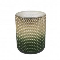 Theelichthouder Glas 10cm 8cm Diameter Groen/Goud