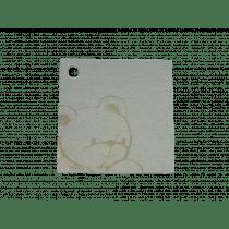 Naamkaartje 4X4Cm Wit Parelmoer Beertje 50 Stuks