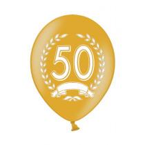 Ballon Metallic 30cm Goud '50' 6 Stuks