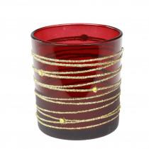 Theelichthouder Glas 6,5cm 5,5cm Diameter Bordeaux/Goud