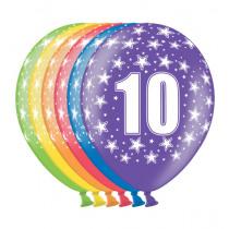 Ballon Metallic 30cm '10' 6 Stuks