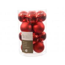 Kerstbal Glas Glans En Mat Kerstrood 3,5cm Diameter 16 Stuks