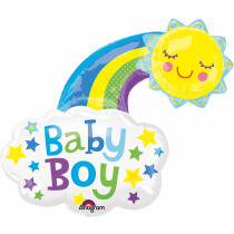 Folieballon Regenboog 76x76cm Blauw Baby Boy