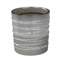 Theelichthouder Glas 8cm Zilver 7cm Diameter Donker