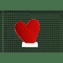 Coeur Sur Pied En Bois 14,5x3x16cm Rouge