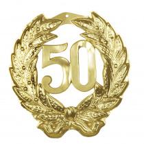 Jubileumcijfer Pvc 45X42Cm Goud '50'