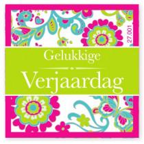 Wensetiket Verjaardag Bloem NL 18 Stuks