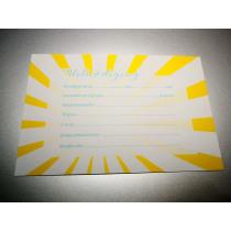 Uitnodiging Met Gele Strepen 15x10cm + 5 Enveloppen (91.054) 5 Stuks