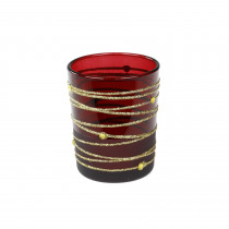 THEELICHTHOUDER GLAS 8cm 7cm diam BORDEAUX/GOUD