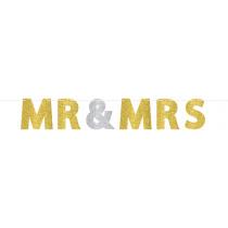 Letterslinger Mr & Mrs 3,65m x 18cm Goud Glitter
