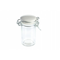 Potje Glas Ijzersluiting 9cm Transparant 4,5cm Diameter - 60ml Ecru Deksel
