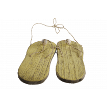 2 Slippers In Hout 14x2x21cm Geel