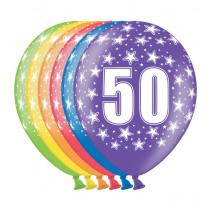 Ballon Metallic 30cm '50' 6 Stuks