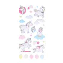 Stickers Puffies Regenboog/Eenhoorn Goud 6 Stuks