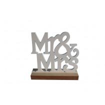 DECORATIE 15,5x15,4cm WIT HOUT MR&MRS